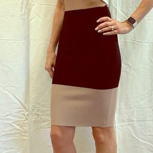 BCBG pencil skirt - color blocked black/tan